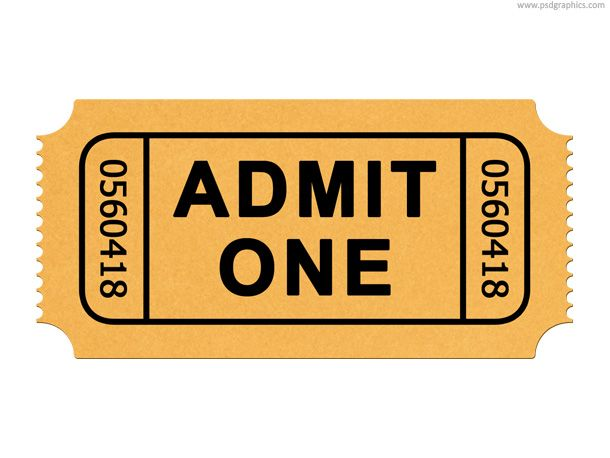 Movie ticket clipart svg transparent download Admission ticket PSD template and web icon. Admit one ... svg transparent download