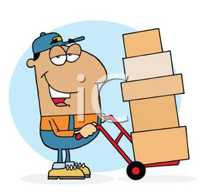 Moving man clipart clip art royalty free stock A Hispanic Moving Man Pusing a Dolly of Boxes - Royalty Free ... clip art royalty free stock