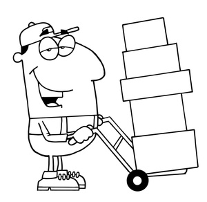Moving man clipart svg black and white library Work clipart image moving man at work with dolly - Clipartix svg black and white library