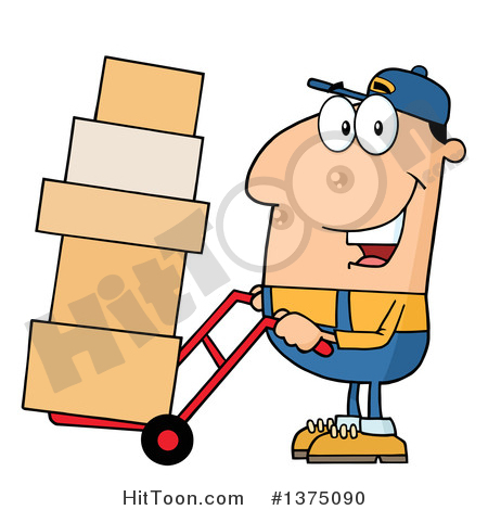 Moving man clipart image black and white library Delivery Man Clipart #1375090: Caucasian Delivery Man Moving ... image black and white library