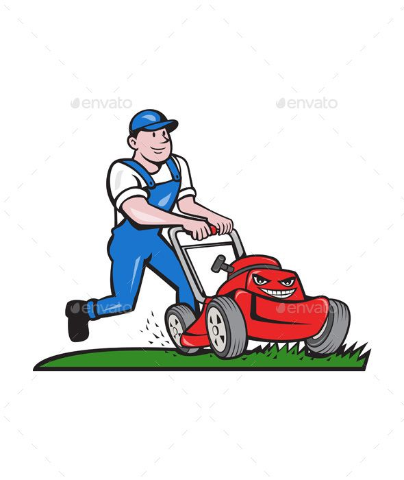 Mow the lawn clipart vector library download Gardener Mowing Lawn Mower Cartoon | Štempiljke | Lawn mower ... vector library download
