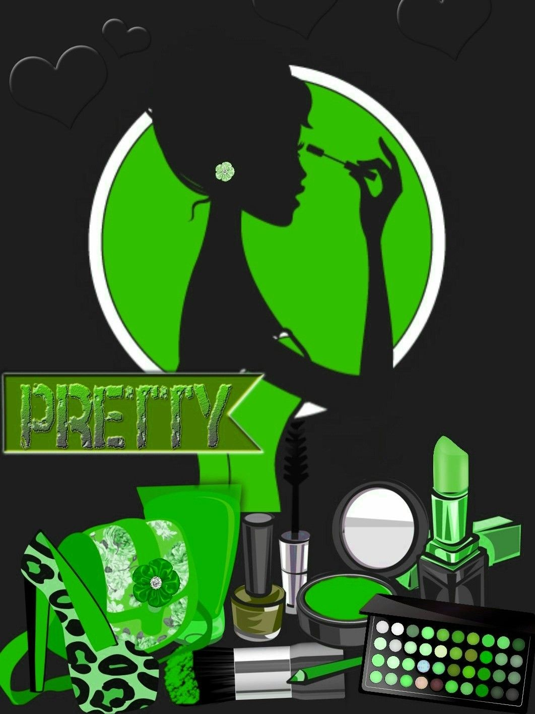 Green - Makeup clipart girly wallpaper - Pencil and in color makeup ... png transparent download