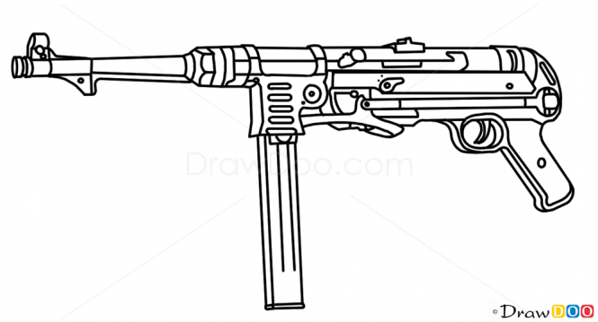 Mp40 clipart transparent stock How to Draw MP40, Guns and Pistols transparent stock