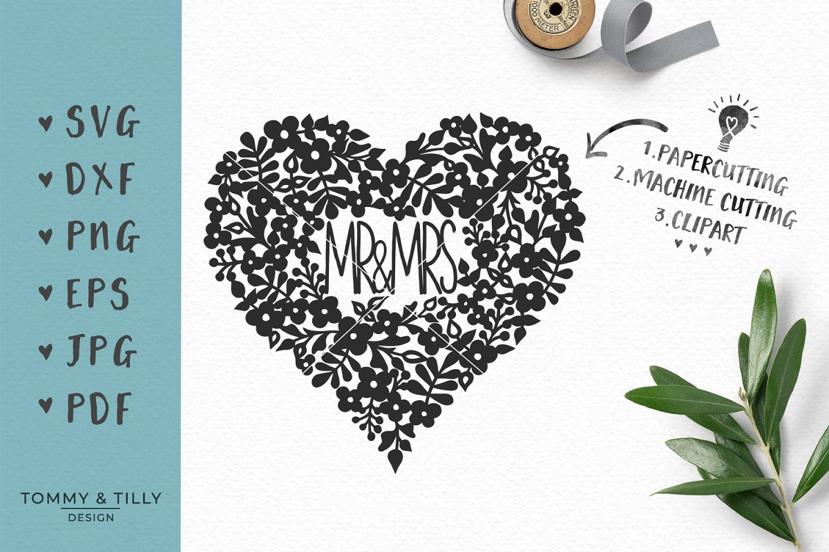 Mr and mrs clipart with heart