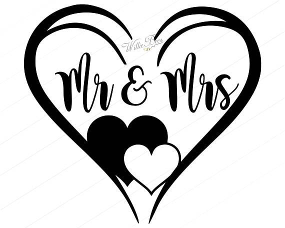 Mr and mrs clipart with heart black and white library Bride And Groom SVG, Mr And Mrs Svg, Wifey And Hubby ... black and white library