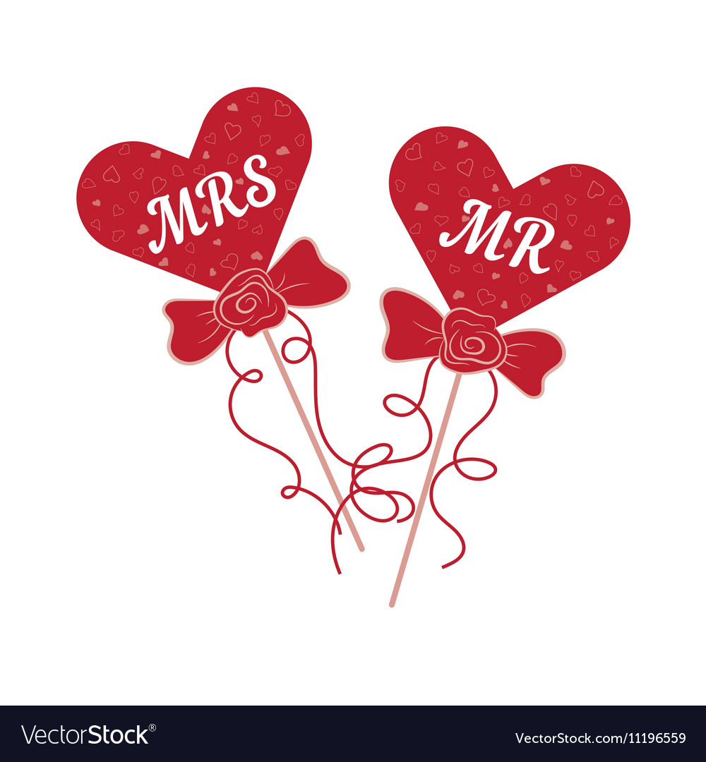 Mr and mrs clipart with heart banner free stock Wedding hearts MR and MRS on a stick banner free stock