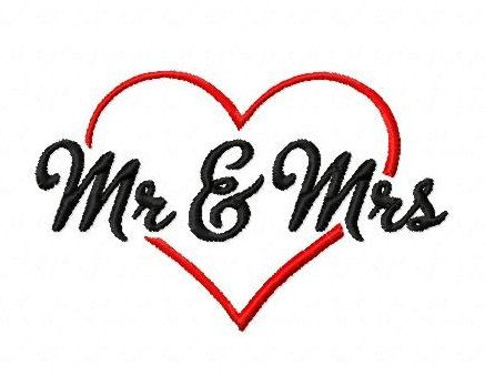 Mr and Mrs heart wedding 4 inch machine embroidery design ... vector library library