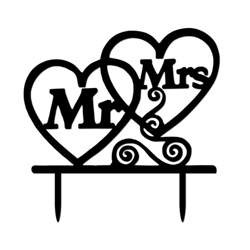 Acrylic Mr & Mrs Heart Cake Topper 13cm clip freeuse library