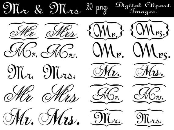 Mr & mrs clipart black and white