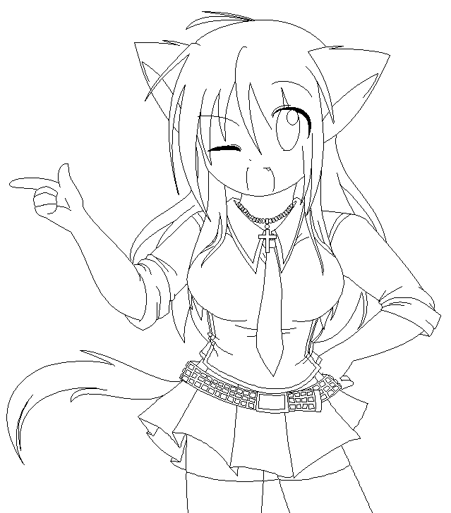 neko anime Colouring Pages - Coloring Pages Galleries | 728x639