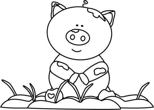 Mud clipart black and white png black and white library Black and White Pig in the Mud Clip Art - Black and White Pig in the ... png black and white library