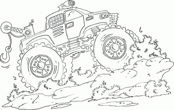 Mud truck coloring pages good chevy clipart clipground vector royalty free stock Monster Tow Truck Crushing Muddy Road Coloring Page | Transportation ... vector royalty free stock