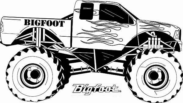 Mud truck coloring pages good chevy clipart clipground image black and white download Monster Truck, : Monster Truck Bigfoot Flames Coloring Page ... image black and white download