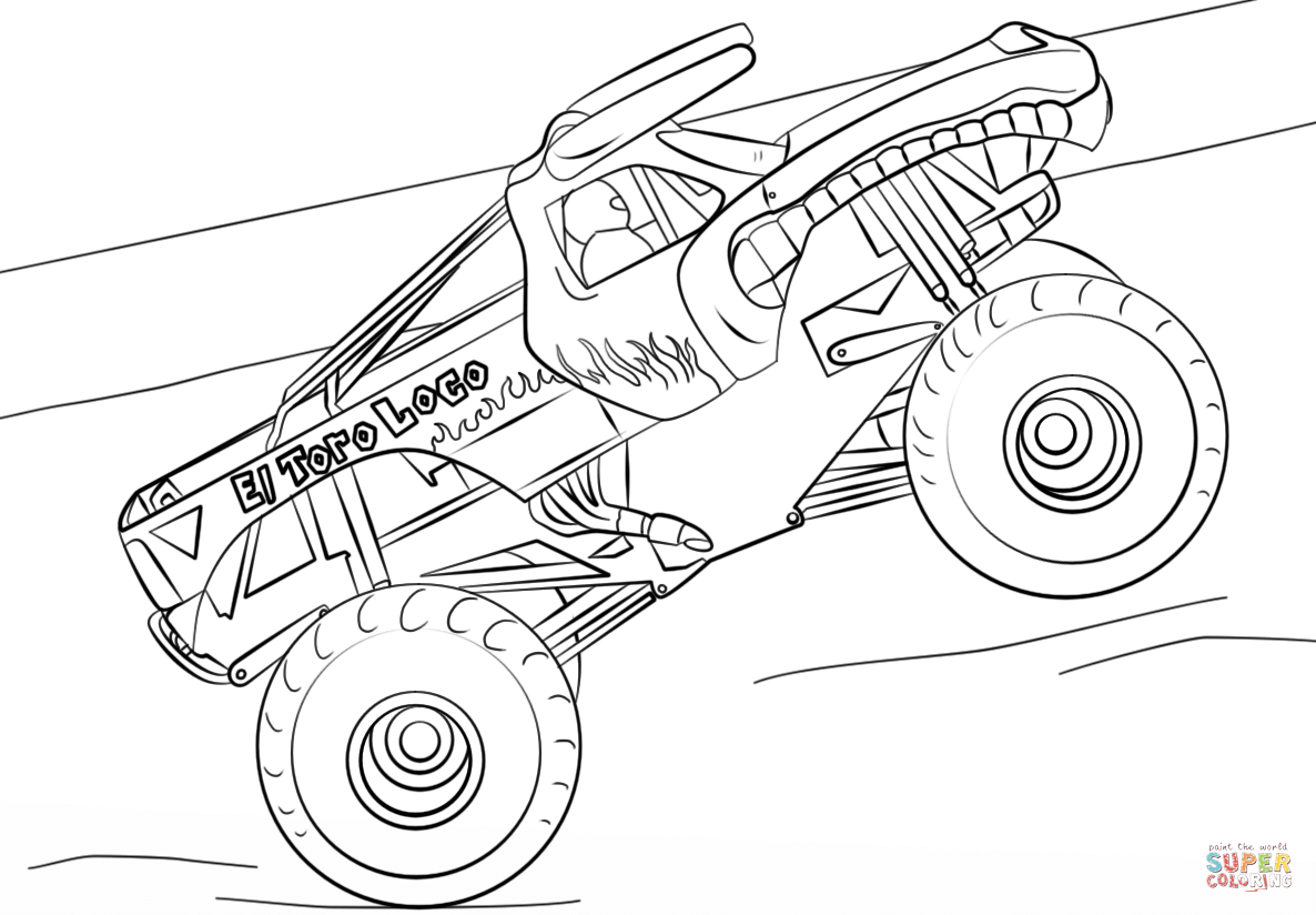 Mud truck coloring pages good chevy clipart clipground banner black and white library El Toro Loco Monster Truck coloring page | Free Printable Coloring ... banner black and white library