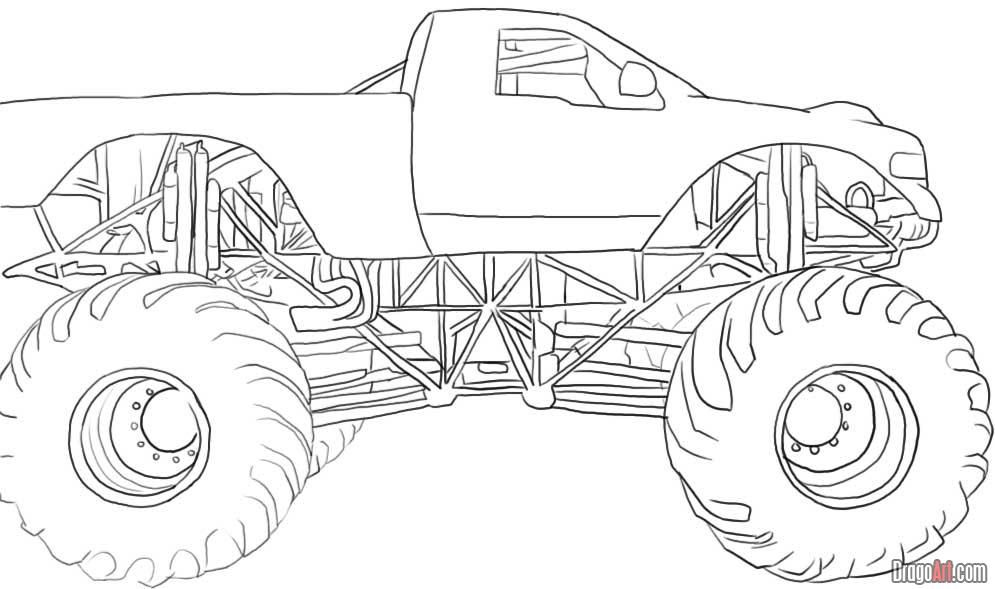 Mud truck coloring pages good chevy clipart clipground svg transparent download steps to how to draw truck | How to Draw a Monster Truck, Step by ... svg transparent download
