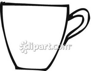 An Outline of a Coffee Mug - Royalty Free Clipart Picture clip black and white