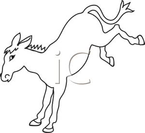 Mule clipart black and white clipart black and white library A Black and White Cartoon of a Mule Kicking - Royalty Free Clipart ... clipart black and white library