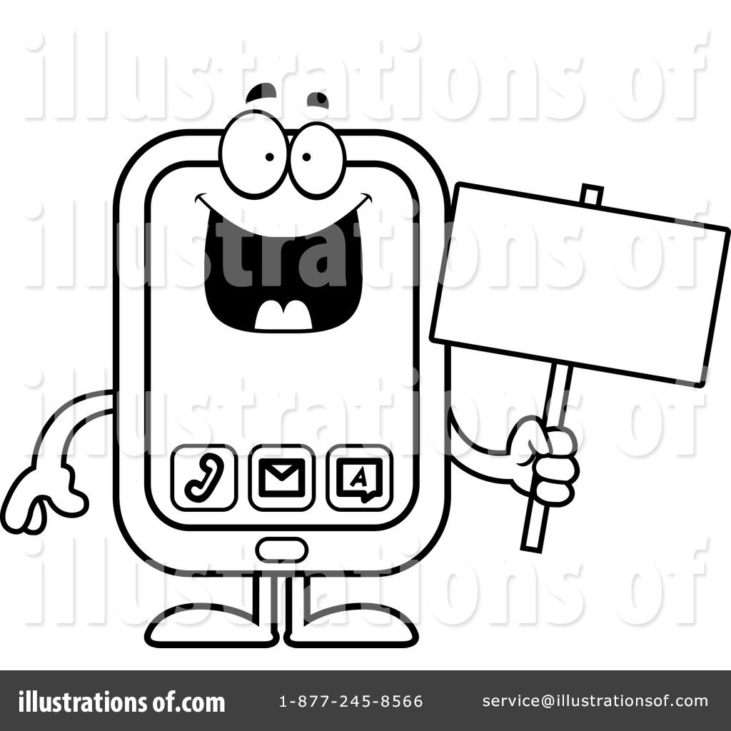 Mule cell phone clipart black and white picture library stock Cell Phone Clipart #1173669 - Illustration by Cory Thoman picture library stock