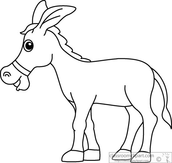 Mule clipart black and white clip art library library Donkey cartoon style clipart black white outline clip - ClipartAndScrap clip art library library