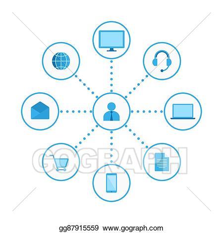 Multi channel clipart jpg black and white download Vector Stock - Omni, multi channel e-commerce. Clipart Illustration ... jpg black and white download