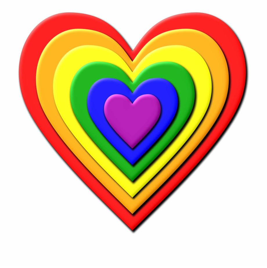 Multi Layered Rainbow Heart Vector Image Free - Rainbow ... svg freeuse