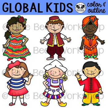 Multicultural Kids from Around the World Clip Art - Set 2 clip library library