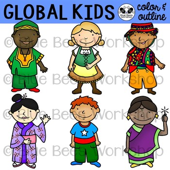 Multicultural Kids from Around the World Clip Art - Set 1 image royalty free stock