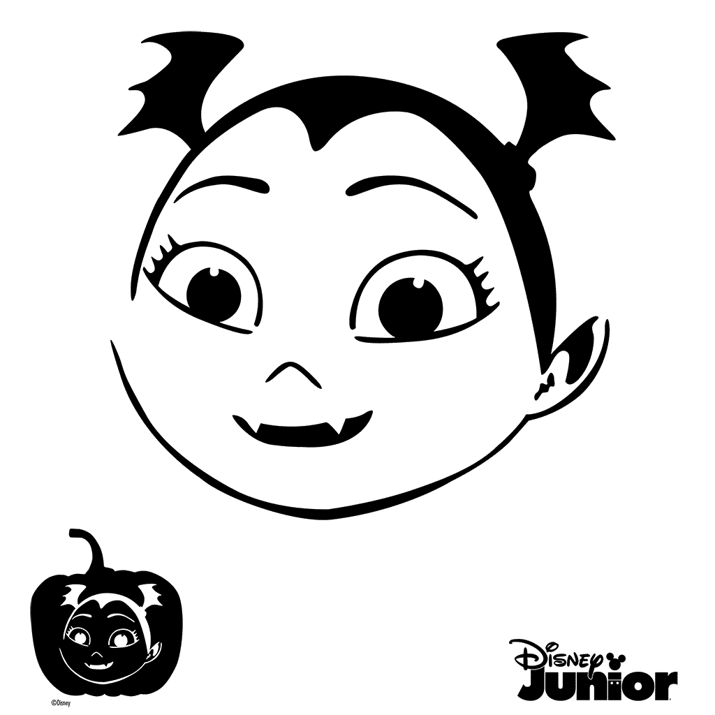 Pumpkin carving clipart black and white royalty free Pumpkin Stencils Vampirina Cutout Vampirina Coloring Page | cora ... royalty free