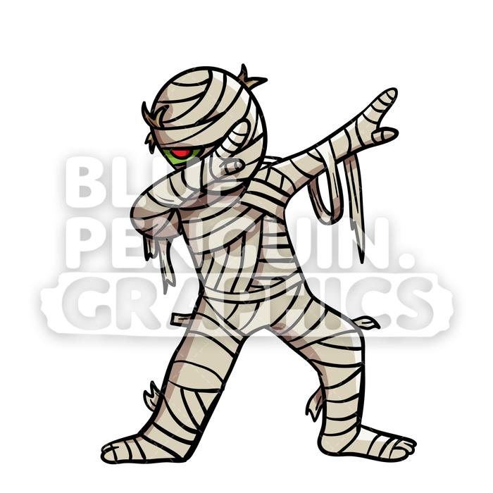 Mumm clipart clipart black and white stock Dabbing Egyptian Mummy Vector Cartoon Clipart Illustration clipart black and white stock