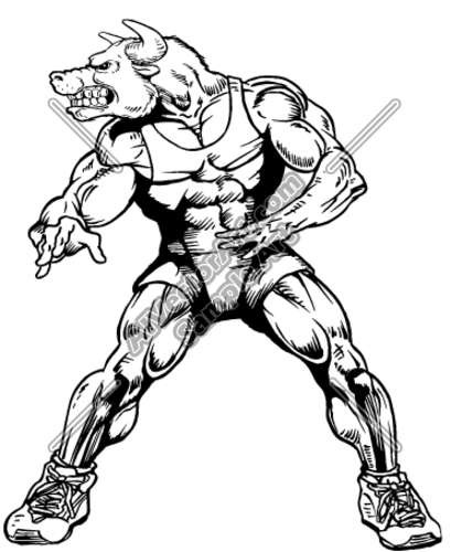 Muscular Man with Bulls Head Clipart and Vectorart: Sports ... clip art freeuse library