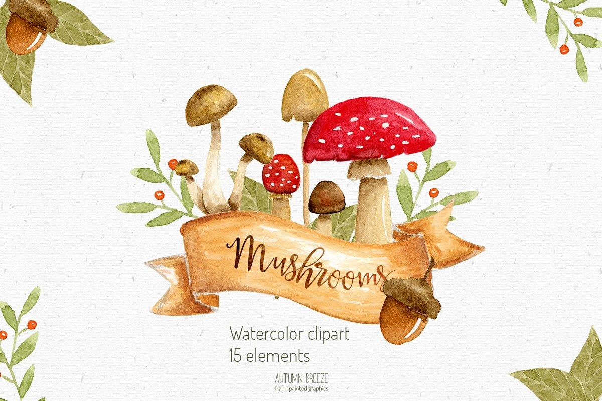 Mushroom watercolor clipart clipart watercolor mushroom clipart clipart