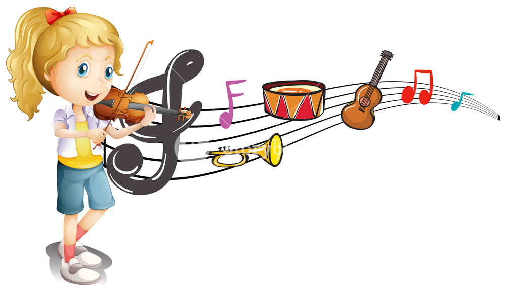 Music note coming out of violin clipart freeuse library Girl playing violin with music notes in background Royalty-Free ... freeuse library