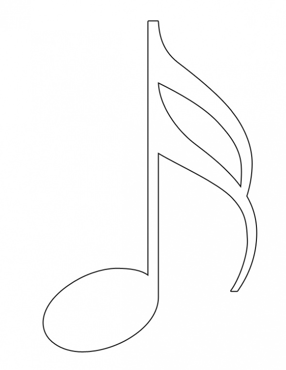 Music note outline clipart png library download Free Eighth Note Outline, Download Free Clip Art, Free Clip ... png library download