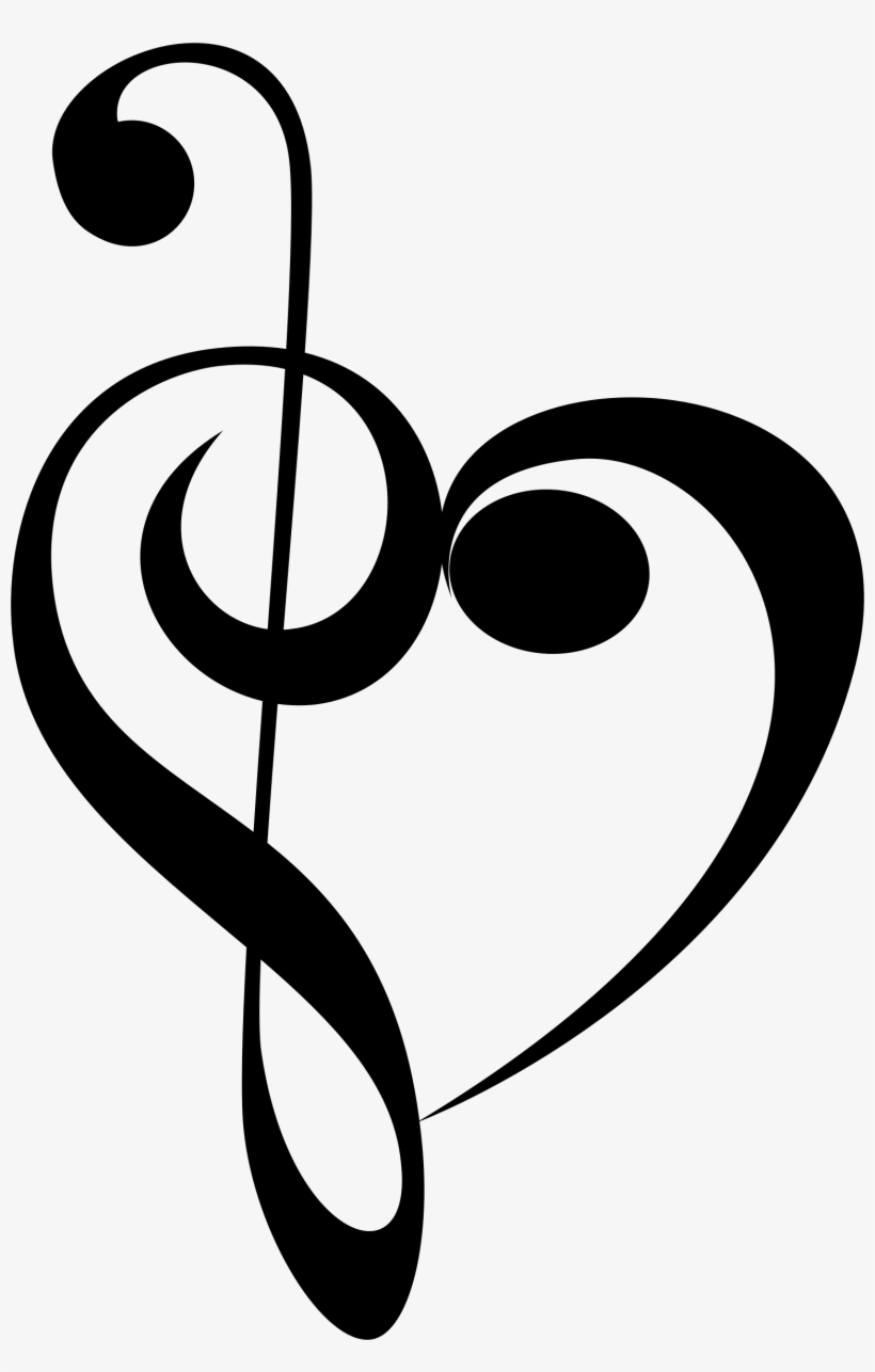 Graphic Black And White Download Music Notes Heart - Treble Clef ... picture freeuse library