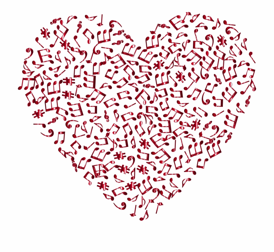 Music And Heart Clipart On Transparent Background And - Transparent ... vector stock