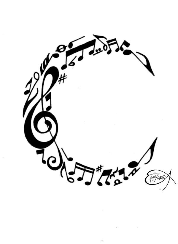 Music notes C monogram in the shape of a crescent moon can also be ... jpg free