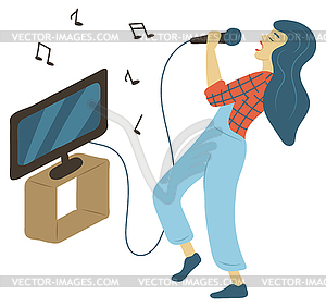 Music on tv clipart picture black and white download Hobby Karaoke, Woman Singing, Music and Tv - color vector clipart picture black and white download