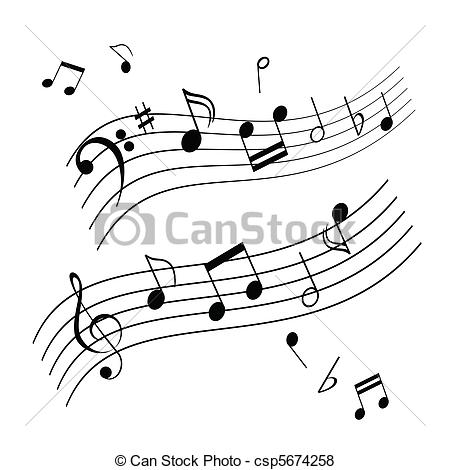 Music sheet clipart png black and white library Vector of Musical notes on music sheet csp5674258 - Search Clip ... png black and white library