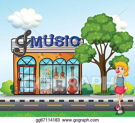 Music store clipart svg free Vector Art - A young girl in front of the music store ... svg free
