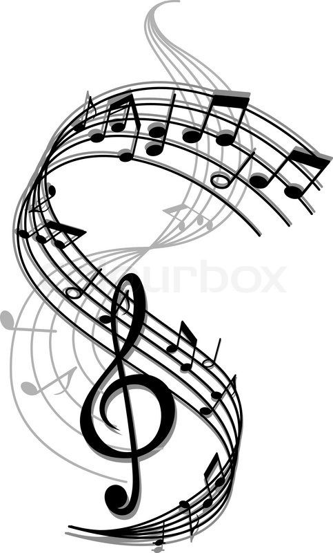 Musical entertainment clipart black and white Stock vector of \'Abstract art music background with musical notes ... black and white