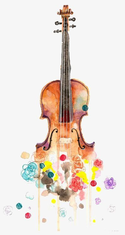 Musical instruments painting clipart image freeuse Hand Painted Violin, Drawing Violin, Musical Instruments, Flowers ... image freeuse