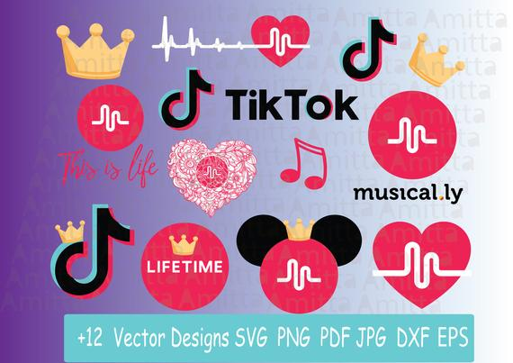 Musical ly clipart logo clip library download Set of Musically SVG files for cricut-Tik Tok logo +12 Vector ... clip library download