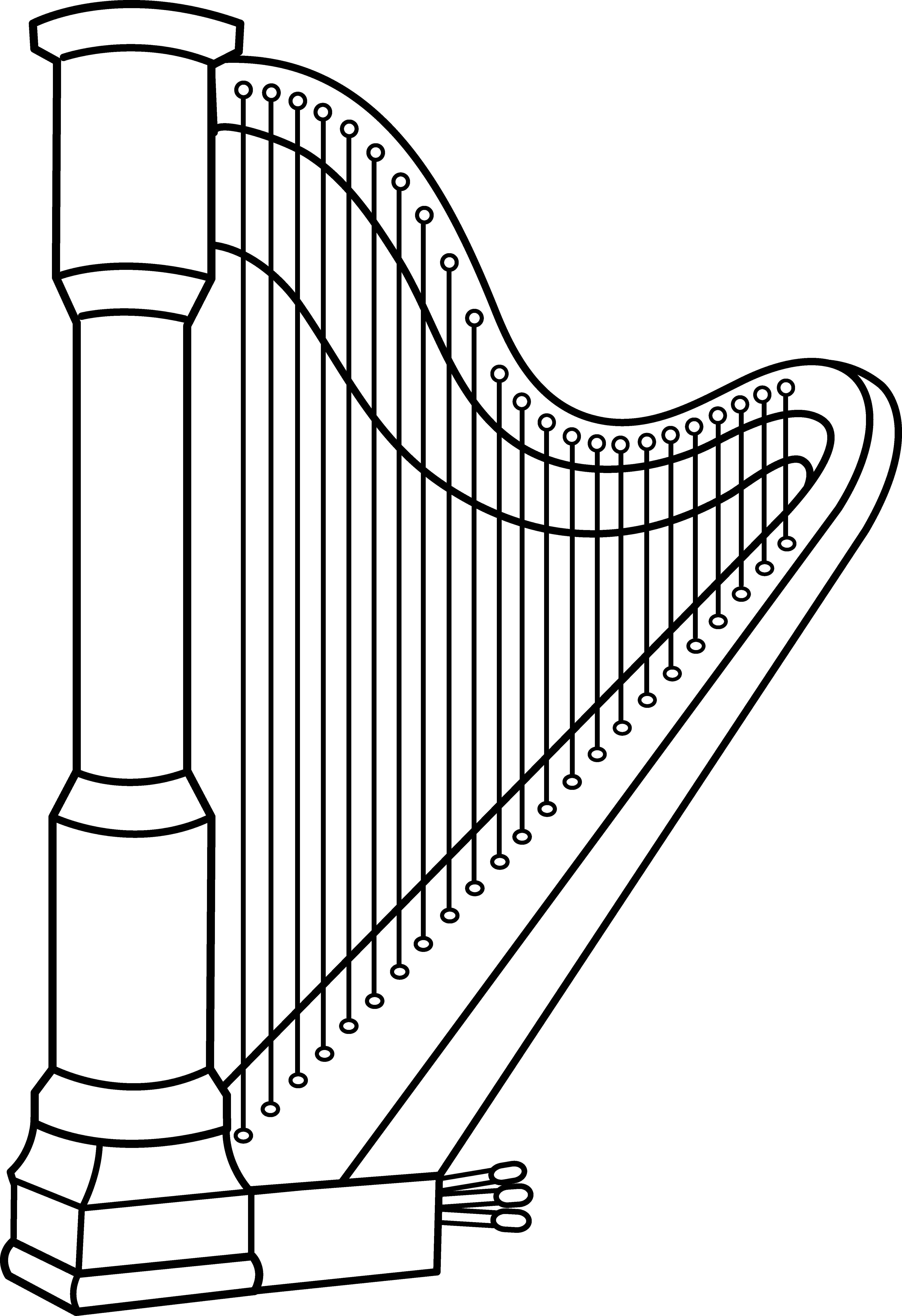 Musical thanksgiving clipart free vector transparent Musical Harp Line Art - Free Clip Art | Harp | Pinterest | Clip art vector transparent