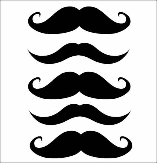 Mustache making a 1 in the end clipart vector free stock Free moustache printables - print, punch a hole in them and ... vector free stock