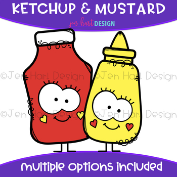 Mustard clipart png black and white We Go Together Clipart- Ketchup and Mustard {jen hart Clip Art} png black and white