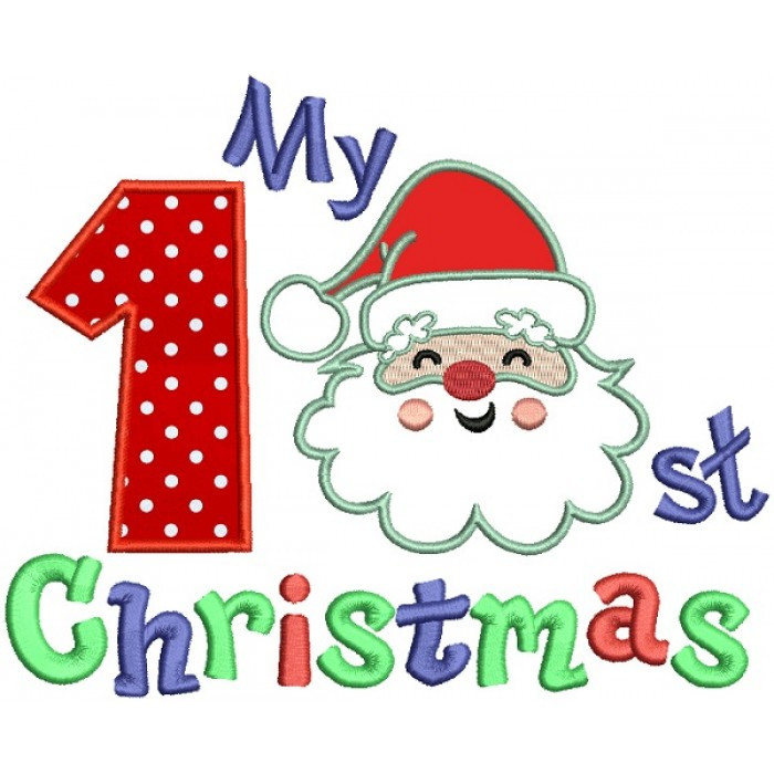 My first christmas clipart clipart free download My First Christmas Santa Claus Birthday Applique Machine Embroidery Design  Digitized Pattern clipart free download