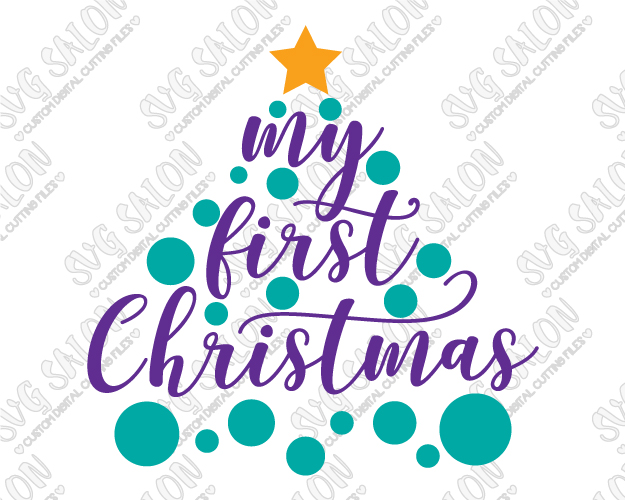 My first christmas clipart vector royalty free stock My First Christmas Polka Dot Tree Cut File in SVG, EPS, DXF, JPEG, and PNG vector royalty free stock