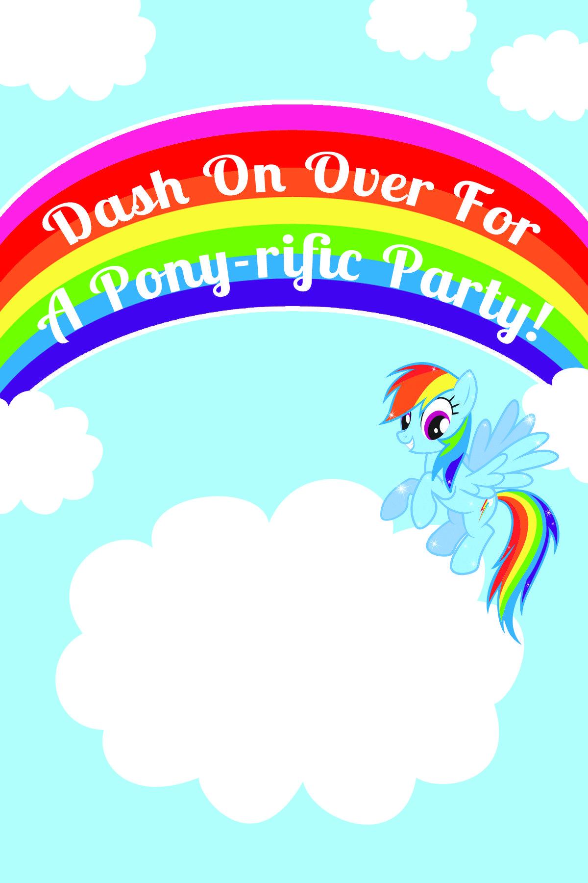 My litte pony happy birthday words clipart jpg free My Little Pony Rainbow Dash Birthday Party Printables | Addie ... jpg free