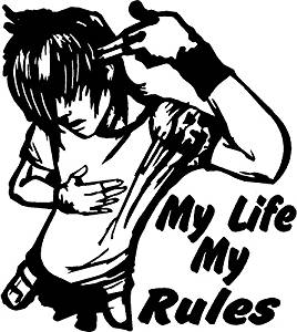 My rules clipart image freeuse stock ARWY My Life My Rule Windows, Sides, Hood, Bumper Car Sticker (Black ... image freeuse stock