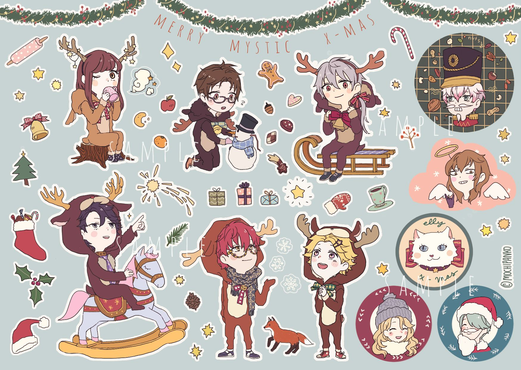Mystic messenger clipart picture transparent download Mystic Messenger Christmas Sticker Sheet (A6) • Mochipanko Art ... picture transparent download